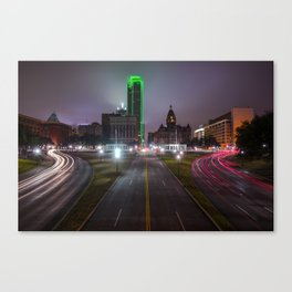 Night Skyline of Dallas Texas Canvas Print
