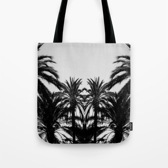 Palm Tree Silhouettes Black and White Tote Bag