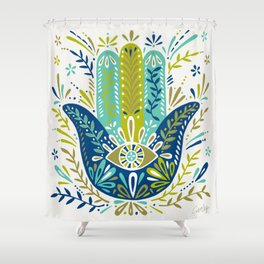 Hamsa Hand – Lime, Turquoise & Navy Palette Shower Curtain