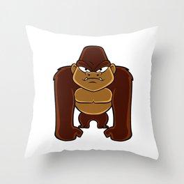 geometric gorilla Throw Pillow