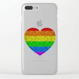 LGBT flag vibrant rainbow glitter sparkles Clear iPhone Case