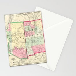 New Mexico and Arizona Map print from 1867 Stationery Cards