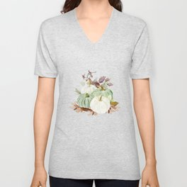 Watercolor Pumpkin Collection: Fall Gathering Unisex V-Neck