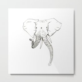 Conjoined Elephant Metal Print
