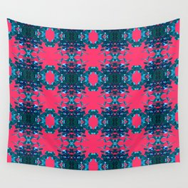 Blue and Pink Kaleidoscope Pattern Wall Tapestry