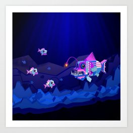 Anglerfish, lie and bioluminescence Art Print