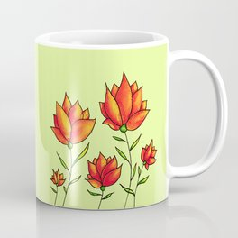 Orange Flowers In Green Spring Watercolor Coffee Mug