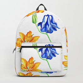 Columbine and Lily Hand Painted Diagonally Repeating Floral Pattern Backpack