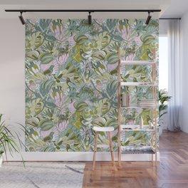 Tropical paradise | Grayish Turquoise Wall Mural