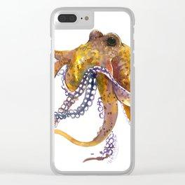 Octopus, orange red gold underwater scene octopus lover design, beach Clear iPhone Case