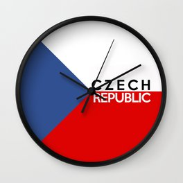 Czech Republic country flag name text Wall Clock