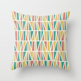 Slanted in Coral, Gold, and Seafoam Throw Pillow