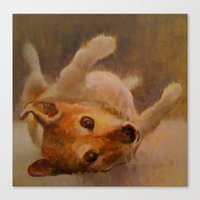 jack russell Canvas Prints featuring jack russell by woolerroad /elizabeth hutchinson