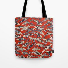 shark party red Tote Bag