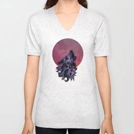 Song at Twilight (Red Moon) Unisex V-Neck