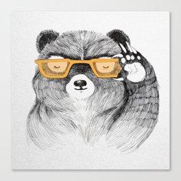 Hipster Bear Canvas Print