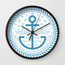 Blue Anchor Wall Clock