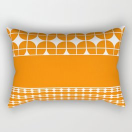 Decorative Bright Orange Multi Pattern Design Rectangular Pillow