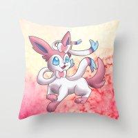 sylveon Throw Pillows featuring Sylveon by Jelecy