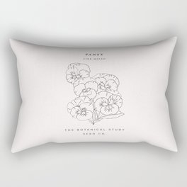 Botanical seed pack illustration - Pansy Rectangular Pillow