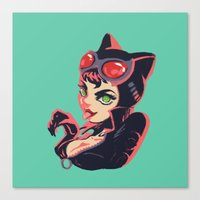 catwoman Canvas Prints featuring Catwoman by Piano Bandit