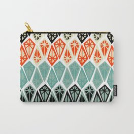 Abstract geometric hand painted red black teal diamond shapes Carry-All Pouch