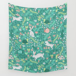 Spring Pattern of Bunnies with Turtles Wall Tapestry