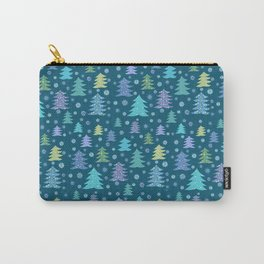 Winter Holidays Christmas Tree Green Forest Pattern Carry-All Pouch