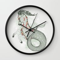 capricorn Wall Clocks featuring Capricorn by Vibeke Koehler