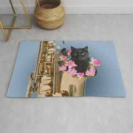 Snoki - Black Cat in Saxophon - Lotos Flower Blossoms  Rug