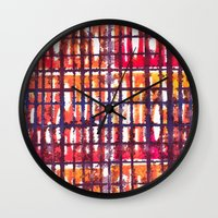 plaid Wall Clocks featuring Plaid by Selkiesong