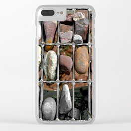 Pebbles In A Grid Clear iPhone Case