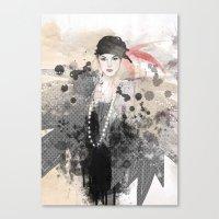 fashion illustration Canvas Prints featuring FASHION ILLUSTRATION 12 by Justyna Kucharska