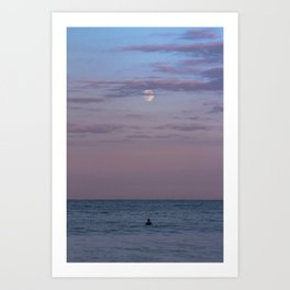 Full Moon Surf Art Print