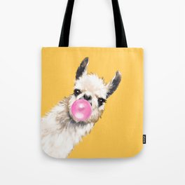 Bubble Gum Sneaky Llama in Yellow Tote Bag