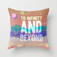 buzz lightyear Throw Pillows featuring to infinity and beyond.. toy story.. buzz lightyear by studiomarshallarts