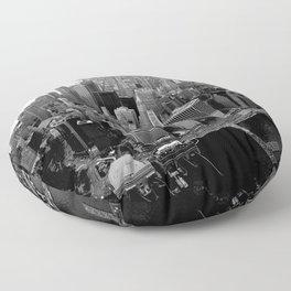 New York, NYC, Black & White (Manhattan, Brooklyn, Queens) Floor Pillow