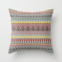 whisky Throw Pillows featuring WHISKY AZTEC  by Kiley Victoria