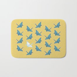 PAPER CRANES BABY BLUE AND YELLOW Bath Mat