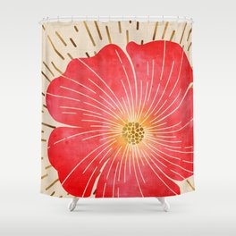 Red Wildflower Shower Curtain