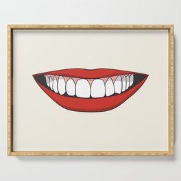 Smiling female mouth with healthy teeth Serving Tray