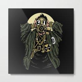 Gas Mask Gangsta Metal Print