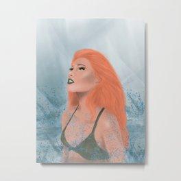 Red Hair Mermaid Metal Print