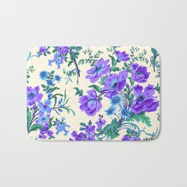 Teal, Blue, Green and Cream Floral Bath Mat