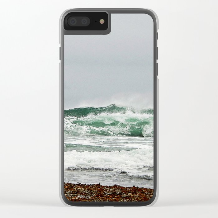 Explosive Green Surf of the St-Lawrence Clear iPhone Case
