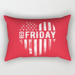 Red Friday Distressed USA Heart Military Rectangular Pillow
