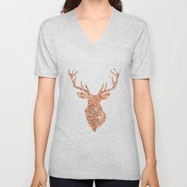 Sparkling reindeer blush gold Unisex V-Neck