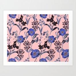 Pink Blue Floral Pattern Art Print