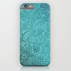 Detailed zentangle square, blue colorway iPhone 6s Slim Case