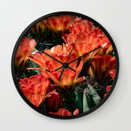 Bright Orange Blooms Wall Clock